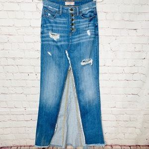 GUESS Button Fly Denim Midi Skirt w Split Front 25